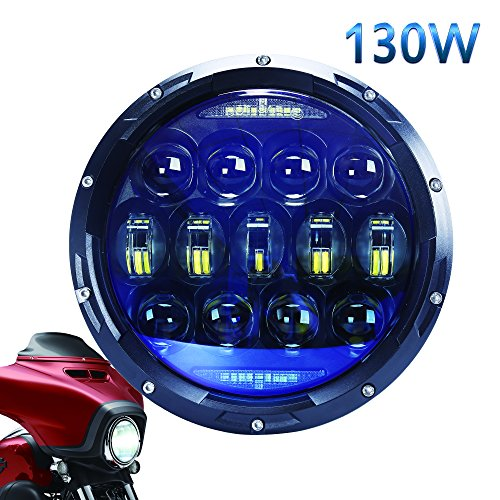 130W Blue Projector 7 Inch Round Led Headlight with White Amber Signal Halo Ring for Harley Motorcycle Jeep Wrangler JK LJ JKU TJ CJ Sahara Rubicon Lamp (Halo Projector Headlights Blue)