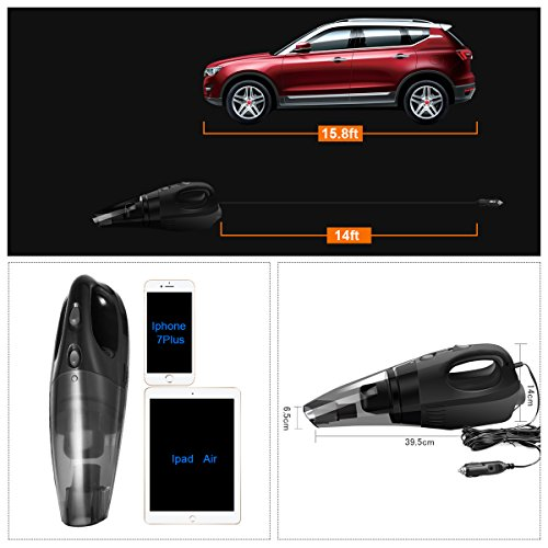 JingXiGuoJi Car Vacuum Cleaner, DC 12-Volt 120W High Power with Stronger Suction Handheld Wet & Dry Multifunctional Auto Vacuum Cleaner for Car (Black) by JingXiGuoJi (Image #2)