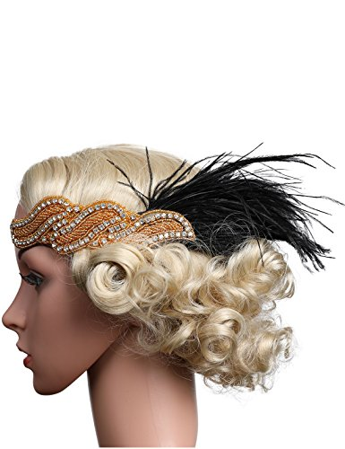 Costume Gatsby Diy (Flapper Girl Red Feather Flapper Headpiece 1920s Gatsby Headbands Accessories Costume)