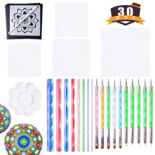 Mandala Tools for Painting Rocks Mandala Painting Dotting Stencil Dot Mandala Kit 30 PCS