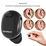 NENRENT S570 Bluetooth Earbud,Smallest Mini Invisible V4.1 Wireless Bluetooth Earpiece Headset Headphone Earphone with Mic Hands-Free Calls for iPhone iPad Samsung LG HTC Other Smartphones 1pcs,Black