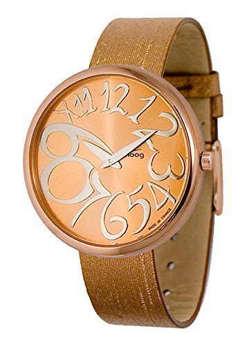 Moog Paris - Ronde - Women's Watch with rose gold dial, golden brown strap in Genuine leather - Interchangeable strap - Made in France - M41671-010