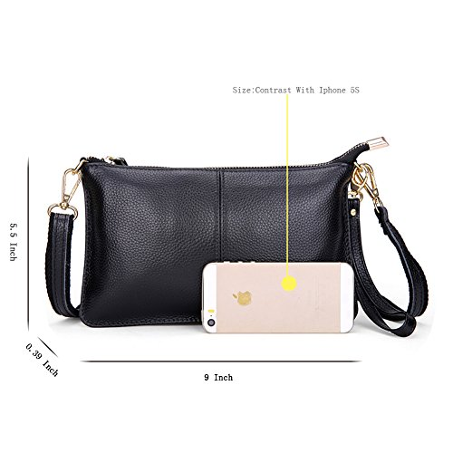 Purse Wallets Black Genuine Clutch for Crossbody Phone Women Bag Fashion Wristlet leather Small Mynos 7x1OvZqwZ