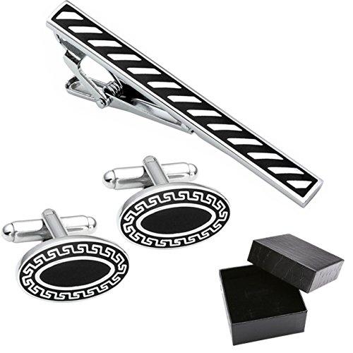 PiercingJ - 3PCS Set Boutons De Manchette Rayures + Epingle Pinces a Cravate Chemise Clip Tie Mariage Business Acier Inoxydable Elegant Delicat Cadeau Classique Noir Homme