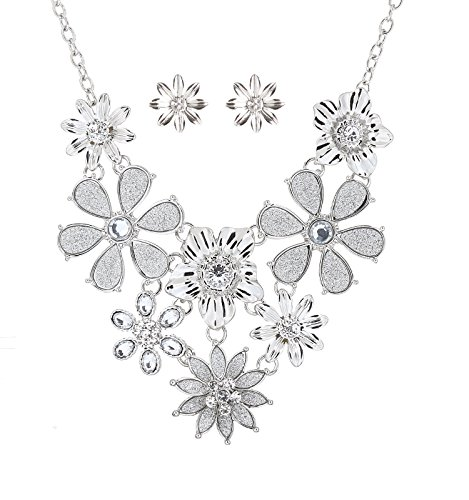wer Necklace Shimmering Crystal Layered Flowers Collar Necklace for Women Earring Necklace Set Daisy Jewerly Set Silver ()