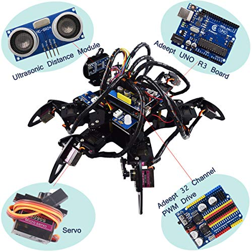 Adeept Hexapod 6-Legs Spider Robot Kit for Arduino UNO R3 and Nano | 2.4G Wireless Remote Control | Obstacle Avoidance | Robot Starter Kit, Arduino Robotics ...
