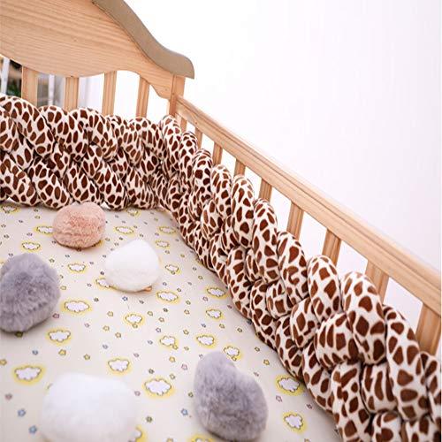 - FZYQY Handmade Braided Cot Bumper, Baby Head Guard Bumper Knot Braid Pillow Cushion, Decorative Pillow for Baby Nursery Crib Bedding -,Leopard,3meters