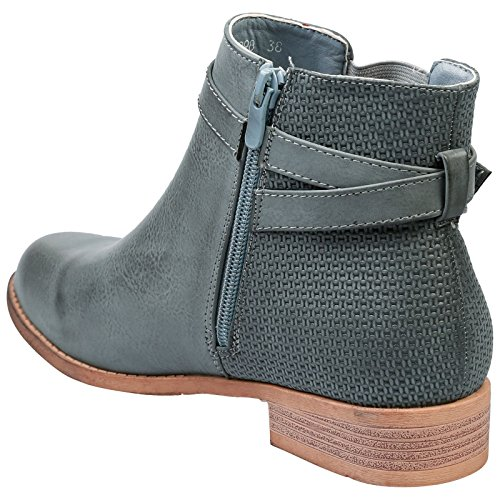 Feet First Fashion Sandra Womens Low Heel Pull On Chelsea Style Ankle Boots Blue Grey Faux Leather bl5eHh