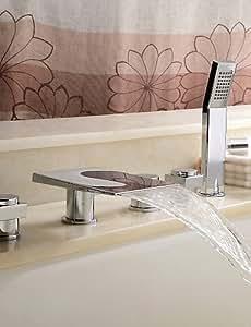 Cascada acabado cromado, cambio de color LED Grifo de cascada para bañera