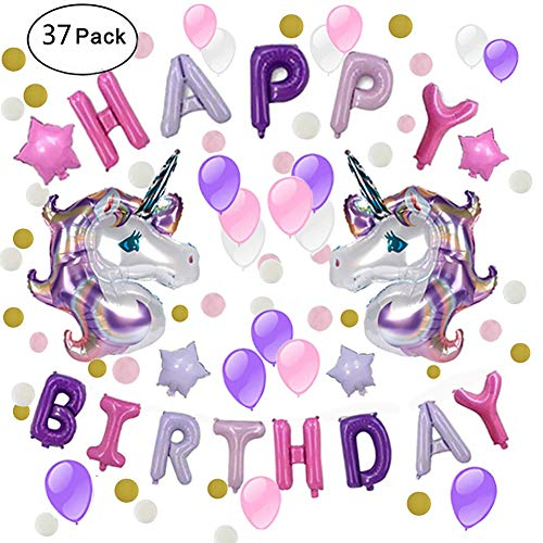 IAMGO Unicorn Party Decoration, Unicorn Party Supplies Theme Balloons Happy Birthday Letter Banner Garland Baby Shower, Birthday Party (Purple Pink)