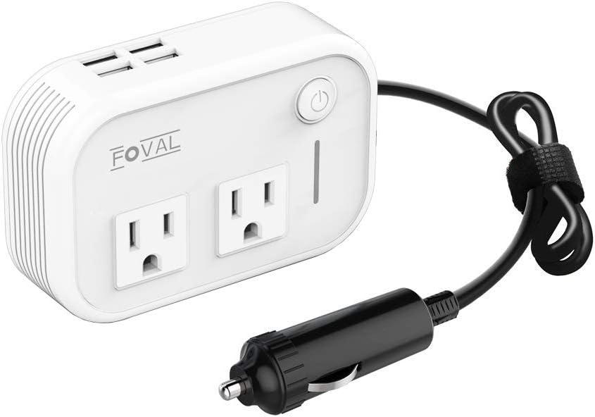 Foval 200W Car Power Inverter DC 12V to 110V AC Converter with 4 USB Ports Charger White