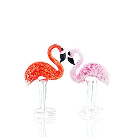 Amazon.com: vidrio hecho a mano flamencos Art Glass soplado ...