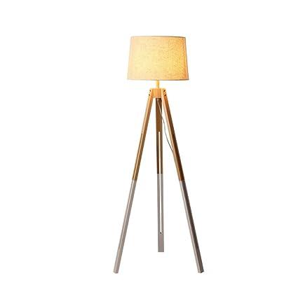 Lámpara Madera pie de Pantalla trípode GDLight Tela de de de hQxrtsdC