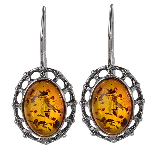 "Sterling Silver and Baltic Honey Amber Fish Hook Earrings""Lisa"""