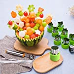 TIMGOU 12 Pcs Vegetable Fruit Cutter Shapes Set with Melon Baller Scoop and Cleaning Brush, Fruit and Mini Cookie Stamps Mold for Kids Crafts Baking Decorating Food-Green 16 12 Different Shape: There are 12 pcs different shape cutters in the package, contains shape of fish, rabbit, flower, duckling, star, strawberry, mushroom and so on. Come with melon baller and cleaning brush: The stainless steel fruit scoop helps to make ball shape fruit to decorate your made dish, small brush to clean the mold in hard reaching corner. Simple and extensive use: Just press the twist gently, you can get a pattern you want. Widely used for sugar cake, DIY biscuits, chocolate, mini pie, cookies, make fruit and vegetables into multiple shapes for Salad or fruit tray, suit for kids having fun in DIY.