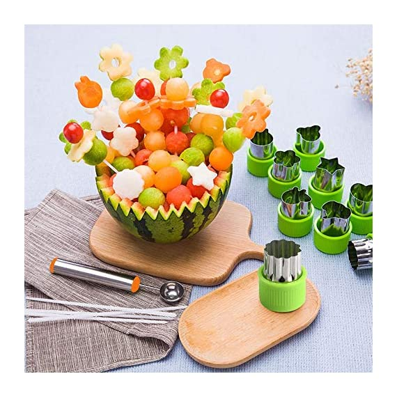TIMGOU 12 Pcs Vegetable Fruit Cutter Shapes Set with Melon Baller Scoop and Cleaning Brush, Fruit and Mini Cookie Stamps Mold for Kids Crafts Baking Decorating Food-Green 7 12 Different Shape: There are 12 pcs different shape cutters in the package, contains shape of fish, rabbit, flower, duckling, star, strawberry, mushroom and so on. Come with melon baller and cleaning brush: The stainless steel fruit scoop helps to make ball shape fruit to decorate your made dish, small brush to clean the mold in hard reaching corner. Simple and extensive use: Just press the twist gently, you can get a pattern you want. Widely used for sugar cake, DIY biscuits, chocolate, mini pie, cookies, make fruit and vegetables into multiple shapes for Salad or fruit tray, suit for kids having fun in DIY.