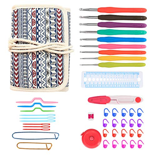 Damero Ergonomic Crochet Hooks Kit Organizer, Travel Canvas Roll Set with 9pcs Crochet Hooks, Comfortable Rubber Grip and Crocheting Accessories Supplies, Carrying with Ease, Bohemian