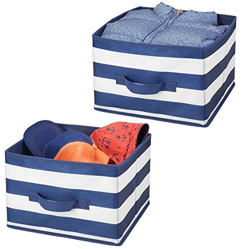 (mDesign Soft Fabric Closet Storage Organizer Holder Box Bin - Attached Handle, Open Top, for Child/Kids Bedroom, Nursery, Toy Room - Wide Striped Print - Medium, 2 Pack - Navy Blue/White)