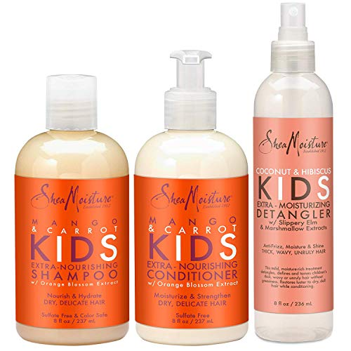 Shea Moisture Kids Hair Care Combination Pack - Includes Mango & Carrot 8oz KIDS Extra-Nourishing Shampoo, 8oz KIDS Extra-Nourishing Conditioner, and 8oz Coconut & Hibiscus KIDS Detangler