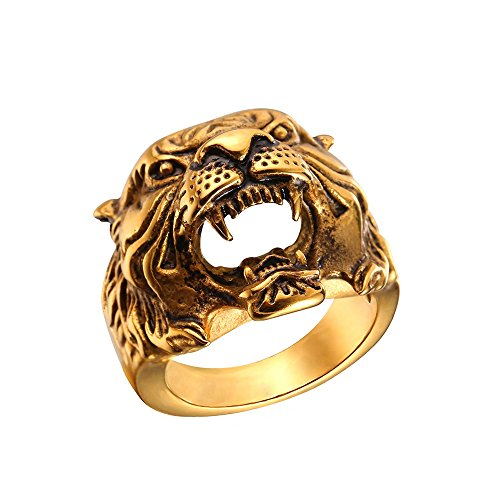 U7 Men's Vintage 18K Gold Plated Tiger Head Ring, Size 10 (Mens Gold Rings Costume)