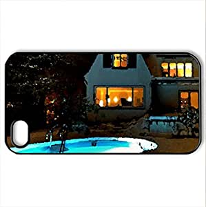 Winter house - Case Cover for iPhone 4 and 4s (Houses Series, Watercolor style, Black)