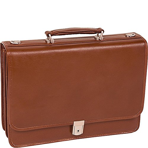 McKlein USA LEXINGTON V series Leather Double Compartment Briefcase in Brown (Series Lexington Leather)