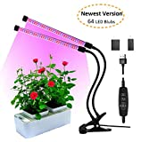 Soulaca Auto Turn On/Off GrowLight [2018 Upgraded Version] 18W Dual Head Timing 64 LED 5 Dimmable Levels for Indoor Plants with Red/Blue Spectrum, Adjustable Gooseneck For Sale