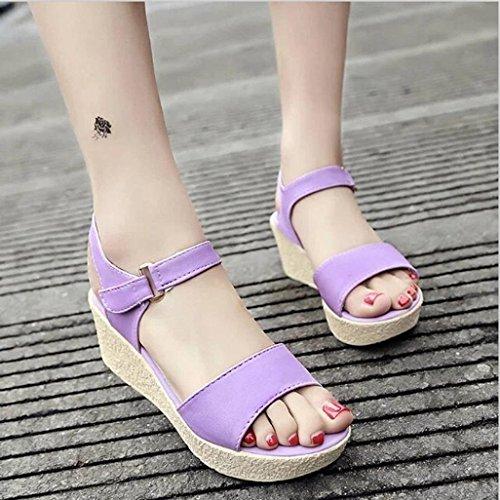 Jamicy Women Girls Wedges Platform Open Toe Summer Casual Party Sandals Purple dEV5QA6