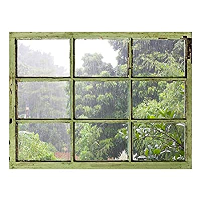 Unbelievable Handicraft, Classic Design, Window View Wall Mural It's Raining Heavily Outside Vintage Style Wall Decor Peel and Stick Adhesive Vinyl Material