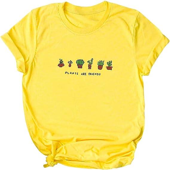 Camisas Mujer Manga Corta de Estilo Simple Color Caramelo Imprimiendo Arriba Camisetas Mujer Manga Larga Originales por Yesmile: Amazon.es: Ropa y accesorios
