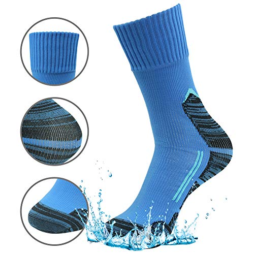 (RANDY SUN Waterproof Socks, Men' Athletic Midweight Ultralite Socks Black Blue)