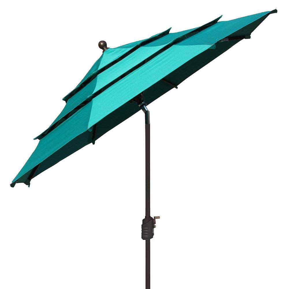 EliteShade Fadesafe 9ft 3 Tiers Market Umbrella Patio Outdoor Table Umbrella with Ventilation Fadesafe Turquoise