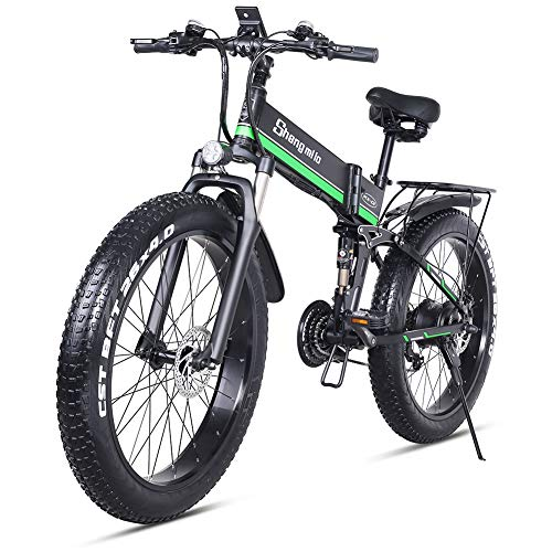 🥇 26 pulgadas neumático gordo Bicicleta eléctrica 1000W 48V Nieve E-bici Shimano 21 Velocidades Beach Cruiser Hombre Mujeres Montaña e-Bike Pedal Assist
