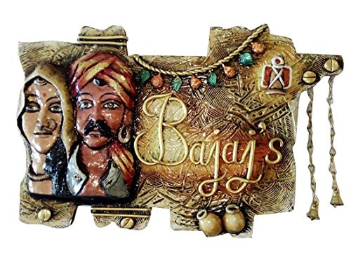 Craftedindia Rajasthani Art Customized Wooden Name Plate by CraftedIndia