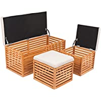 BirdRock Home Bamboo Storage Bench and Ottomans Set | Bamboo Bench with 2 Nesting Ottomans | Reversible Linen Cushioned Top and Serving Tray | Natural Spa Bench Ottoman