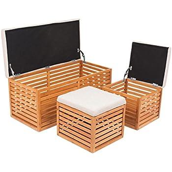 Amazon Com Birdrock Home Bamboo Storage Bench And