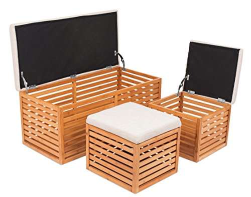 BIRDROCK HOME Bamboo Storage Bench and Ottomans Set | Bamboo Bench with 2 Nesting Ottomans | Reversible Linen Cushioned Top and Serving Tray | Natural Spa Bench Ottoman (Natural Wood Ottoman Upholstered)