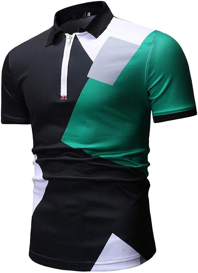 YKARITIANNA - Camisa de Manga Corta con Cuello Alto para Hombre ...