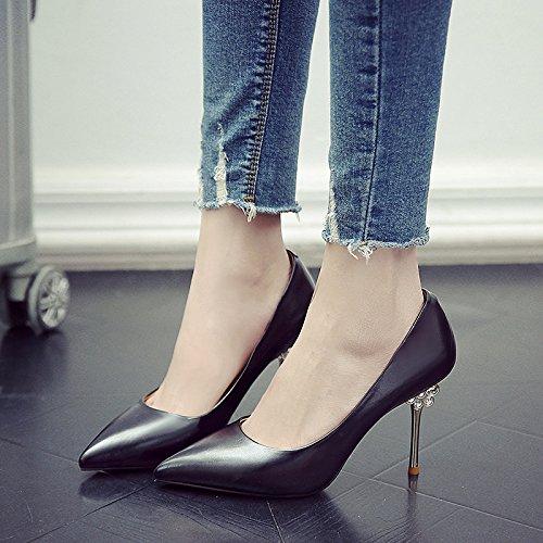 GAOLIM Alto De Zapatos Los Chica Beige Zapatos Fina Primavera Princesa Solo Adolescentes Punta Tacón Zapatos Negro Con La EIqrI5w
