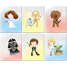 Star Wars Nursery Decor Prints - Set of Six 8x10 Watercolor Original Art Photos - Princess Leia R2D2 CP3O Chewbacca Han Solo Darth Vadar Luke Skywalker Yoda