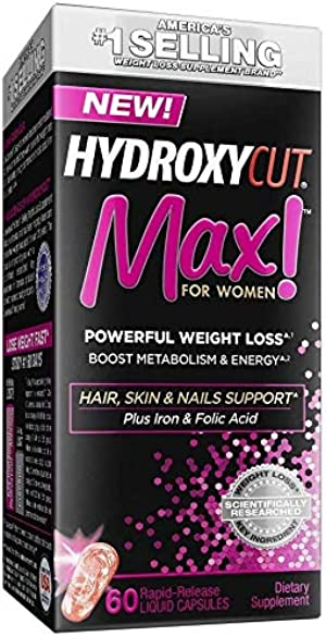 Weight Loss Pills for Women | Hydroxycut Max | Weight Loss Supplement Pills with Biotin | Hair Nails and Skin Vitamins for Women | Metabolism Booster for Weight Loss | Iron Supplement, 60 Pills