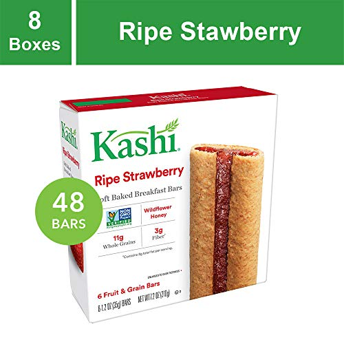Kashi, Soft-Baked Breakfast Bars, Ripe Strawberry, Non-GMO Project Verified, 7.2 oz, 6 Count(Pack of 8)