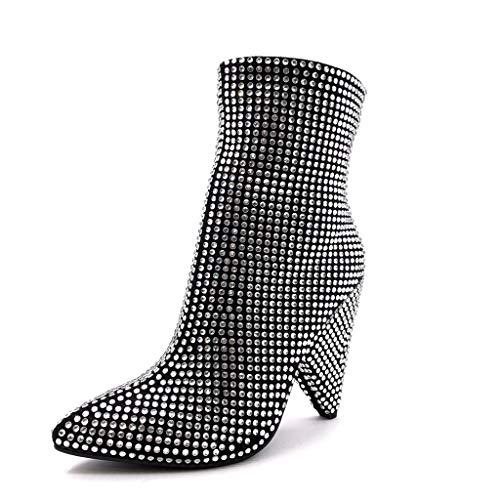 Clouté Strass Rock Femme Cönique Mode Diamant Noir Talon Moderne Sexy 5 Cm 11 Angkorly Bottine Soirée Glam Chaussure 8qSqw4
