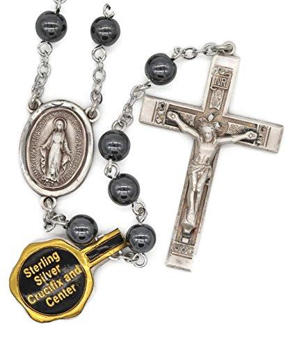 Hematite Silver Crucifix (Bertof BT-300 Rosary Hematite Beads Sterling Silver Crucifix & Miraculous Medal GEMLUX W Copyrighted Paul Herbert Blessing)