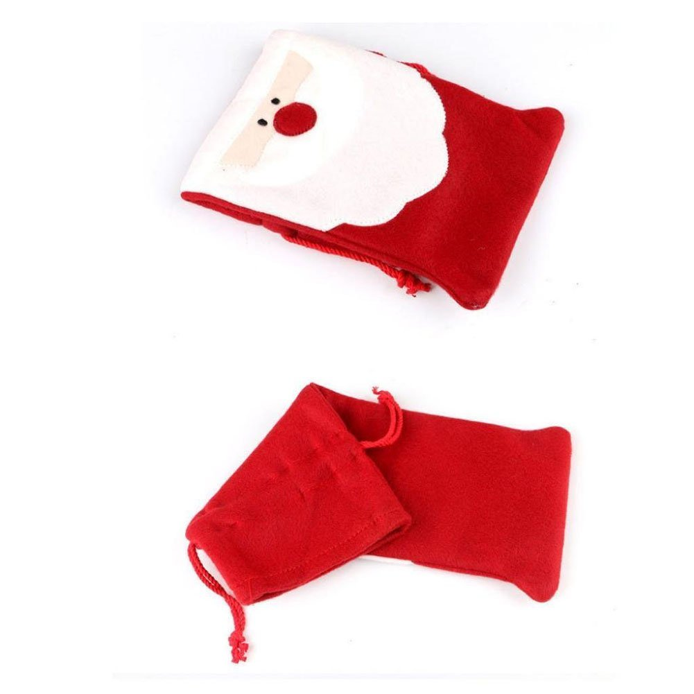 SODIAL(R) Christmas Santa Claus Wine Bottle Cover Bag for Table Decorations Xmas Dinner (2PCS)