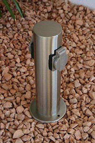 Steckdosensäule 2 fach edelstahl aussensteckdosen mit kinderschutz ...