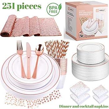 Amazon.com: Juego de vajilla de plástico desechable KWELLY ...