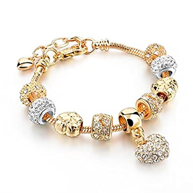 hot and bold gold plated pandora loveheartvalentine charms diy dangling bracelet