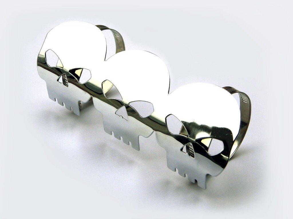 Chrome Skull Exhaust Heat Shield for Retro Cruiser Custom Project Motorbike Alchemy Parts Ltd
