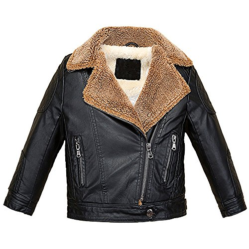 73fb3b9ea LJYH Childrens Fashion Leather Motorcycle Jacket Boy's Winter Zipper Coat